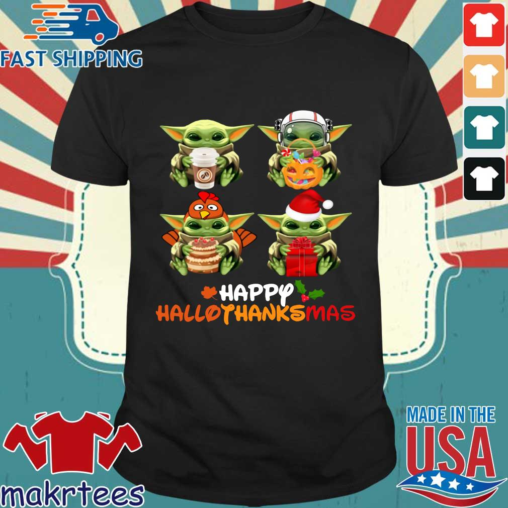 Baby Yoda happy Hallothanksmas shirt