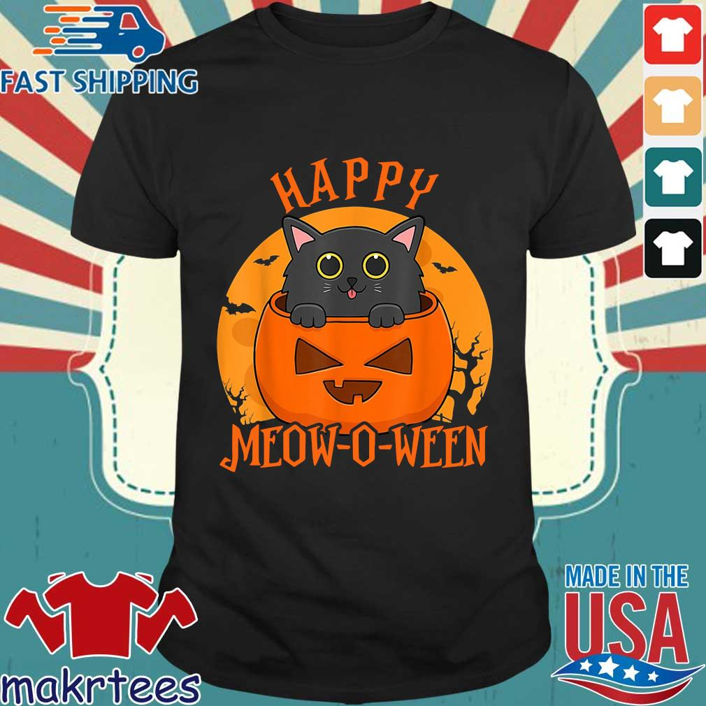 Black cat happy meow o ween blood Moon Halloween shirt