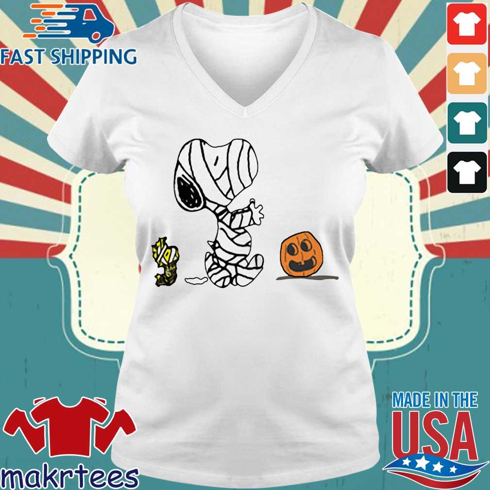Pumpkin scare Ghost Snoopy and Woodstock Halloween s Ladies V-neck trang