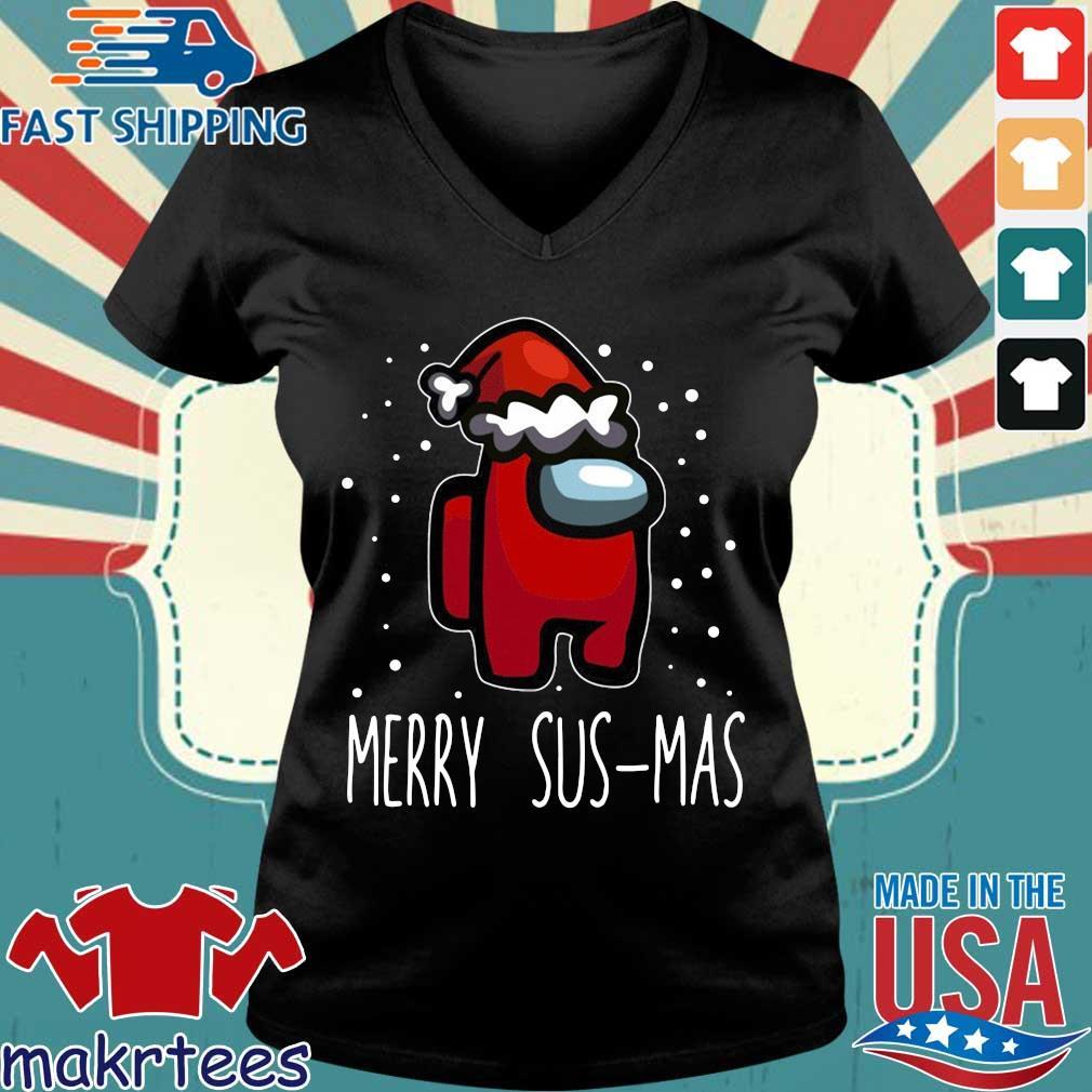 Santa Red Among Us Merry Sus-Mas Christmas sweater Ladies V-neck den