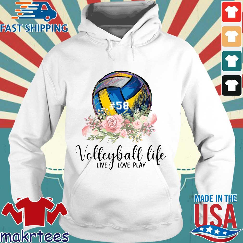 #58 volleyball life live love play floral s Hoodie trang
