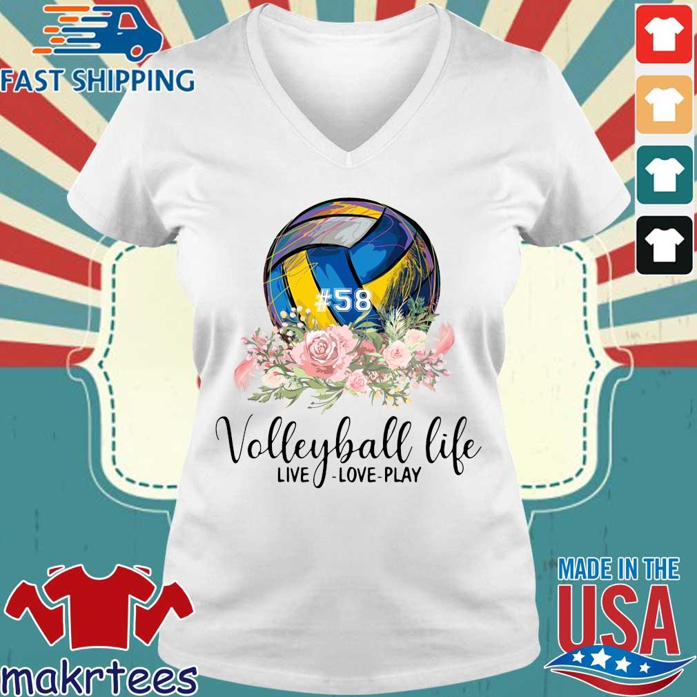#58 volleyball life live love play floral s Ladies V-neck trang
