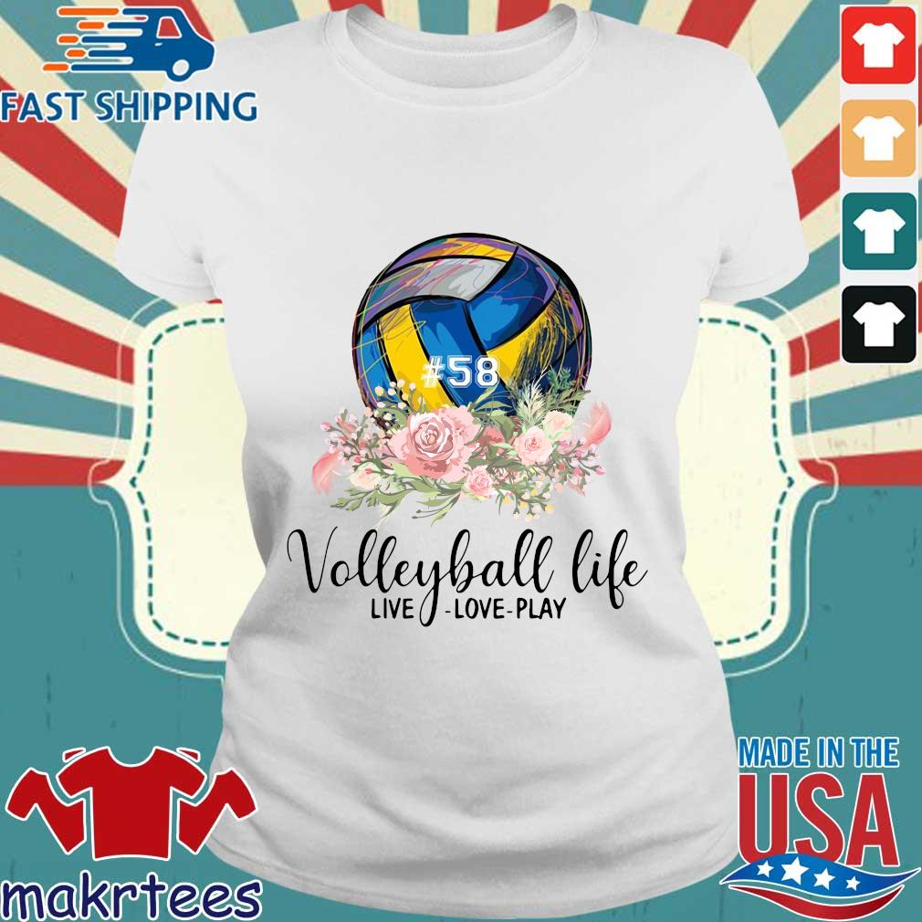 #58 volleyball life live love play floral s Ladies trang