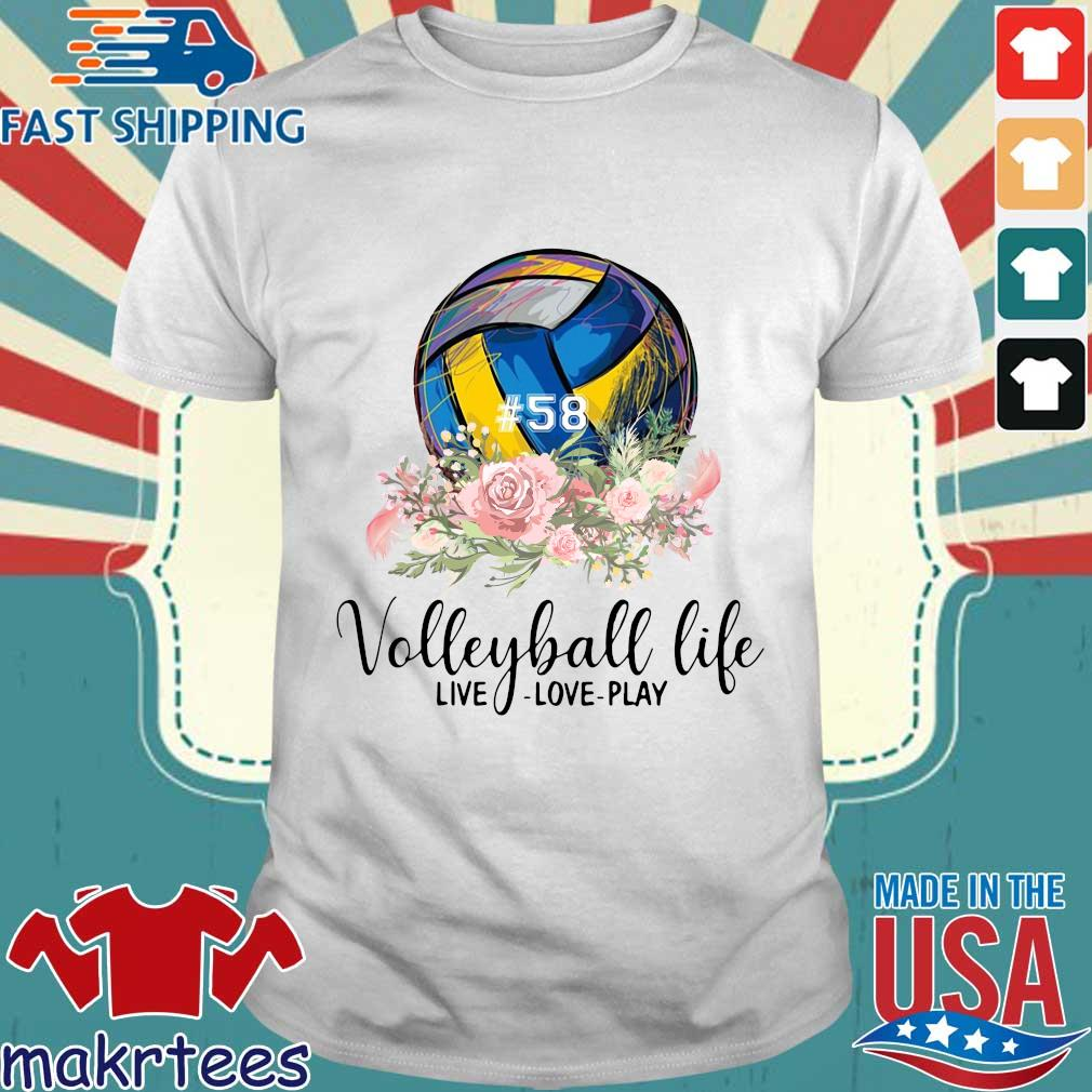 #58 volleyball life live love play floral s Shirt trang