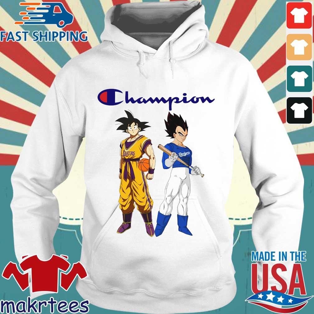 Son Goku and Vegeta Champions Los Angeles Dodgers and Los Angeles Lakers s Hoodie trang