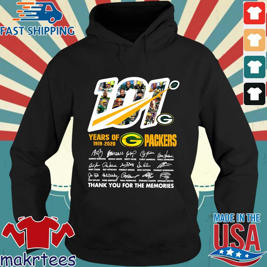 100 years of 1919 2020 Green Bay Packers thank you for the memories signatures s Hoodie den