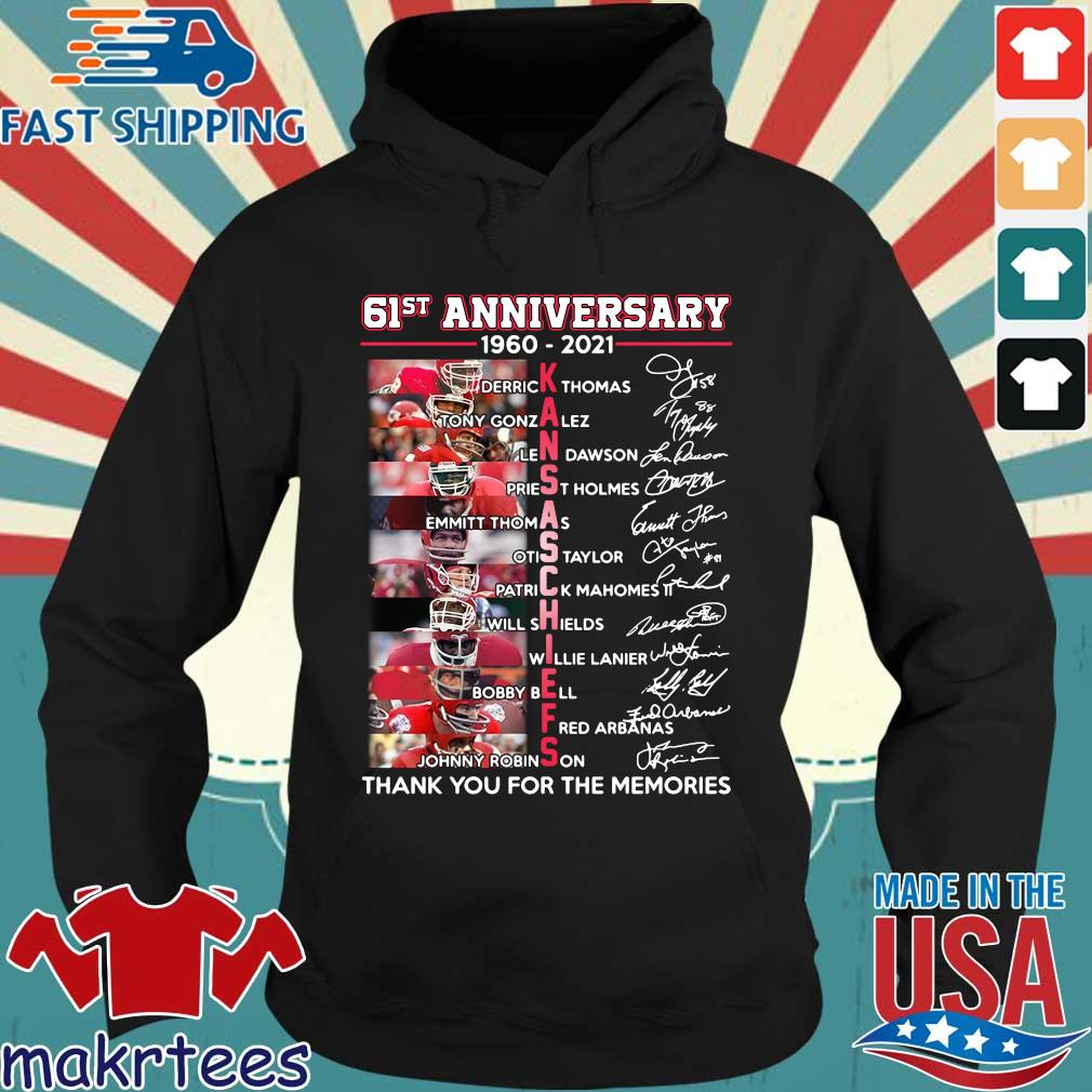 61st 1960-2021 Kansas City Chiefs thank you for the memories signatures s Hoodie den