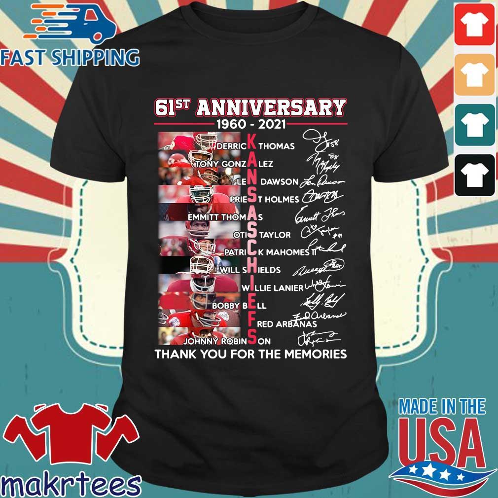 61st 1960-2021 Kansas City Chiefs thank you for the memories signatures shirt