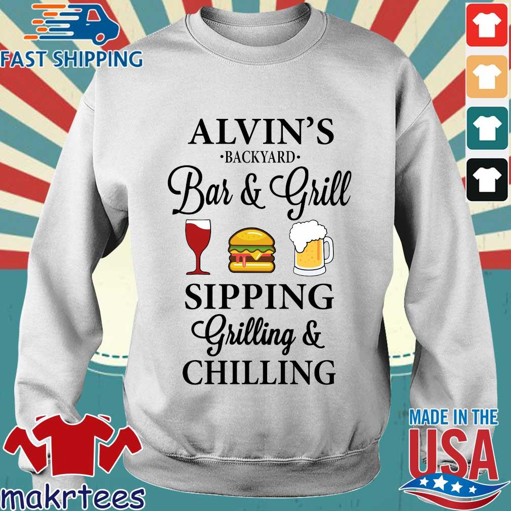 Alvin's backyard bar and grill sipping grilling and chilling shirt