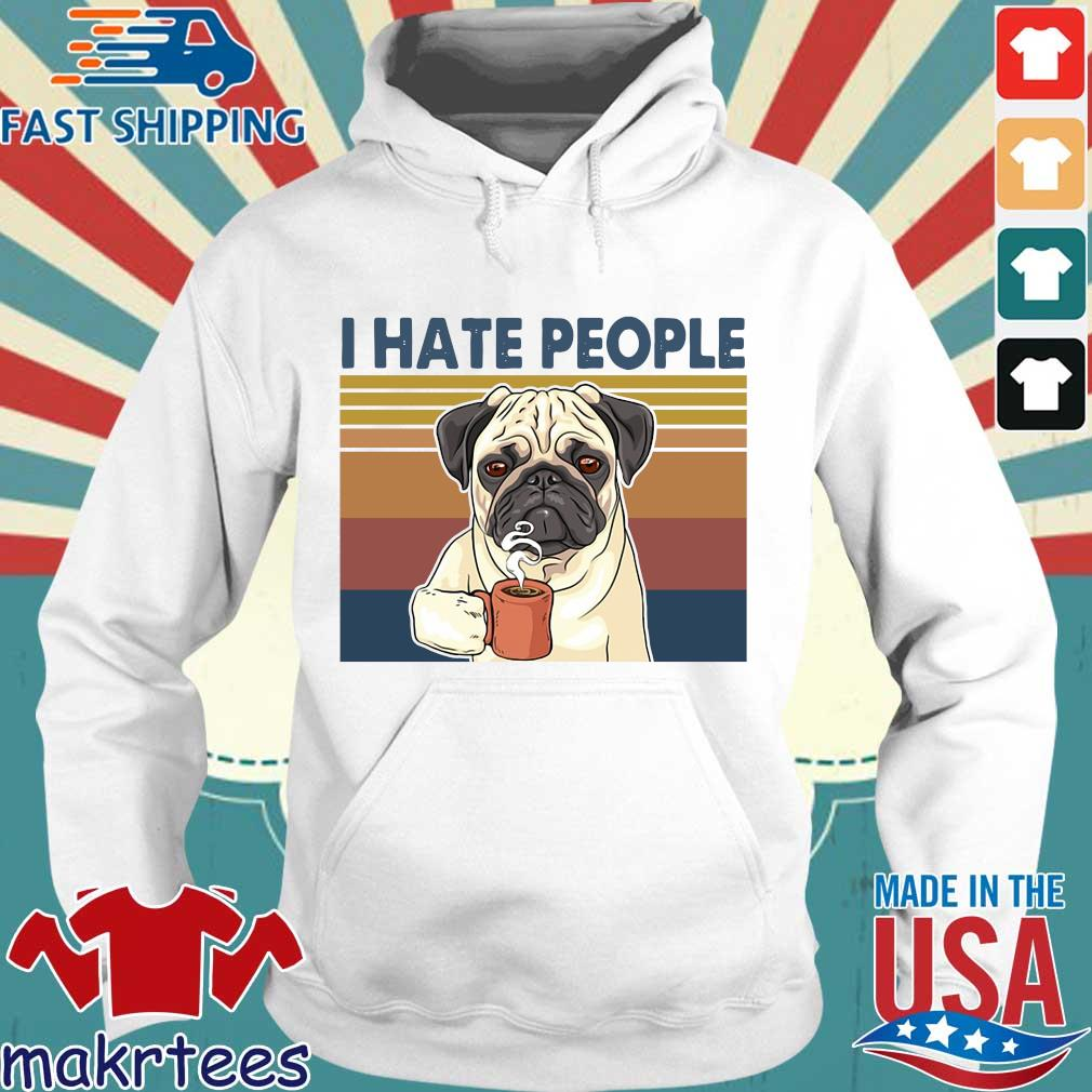Bulldog drink coffee I hate people vintage s Hoodie trang