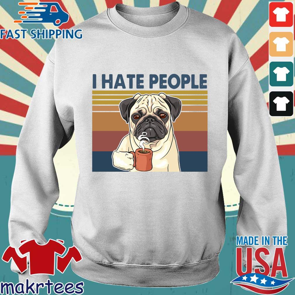Bulldog drink coffee I hate people vintage shirt
