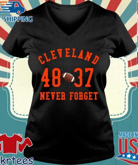 Cleveland Browns 48 37 never forget s Ladies V-neck den