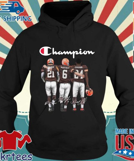 Cleveland Browns Champion Mayfield Chubb signatures s Hoodie den