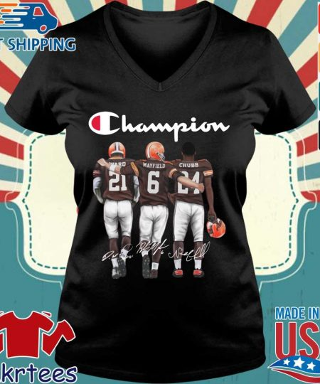 Cleveland Browns Champion Mayfield Chubb signatures s Ladies V-neck den