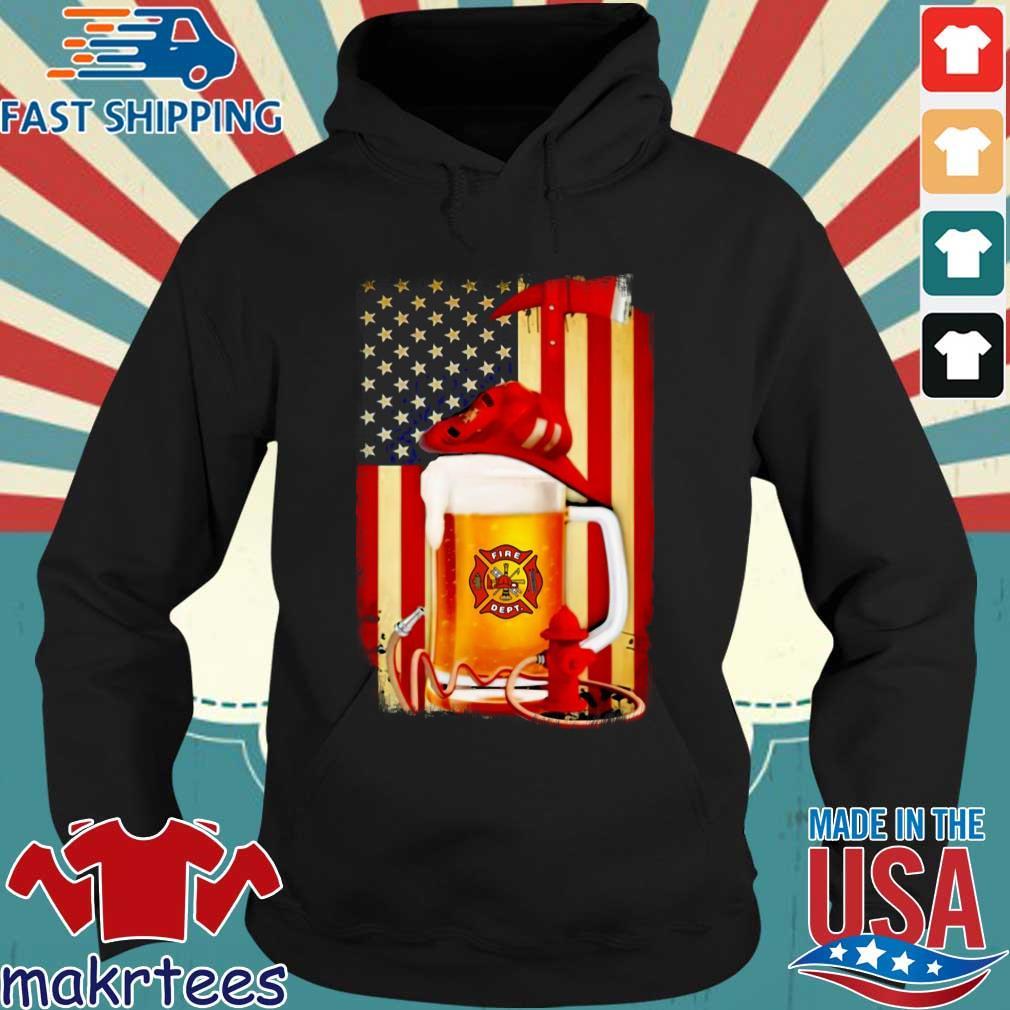 Fire Dept Beer American Flag Shirt Hoodie den