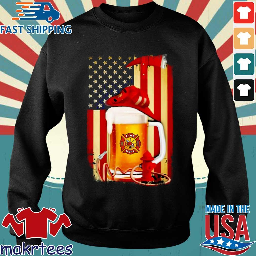 Fire Dept Beer American Flag Shirt