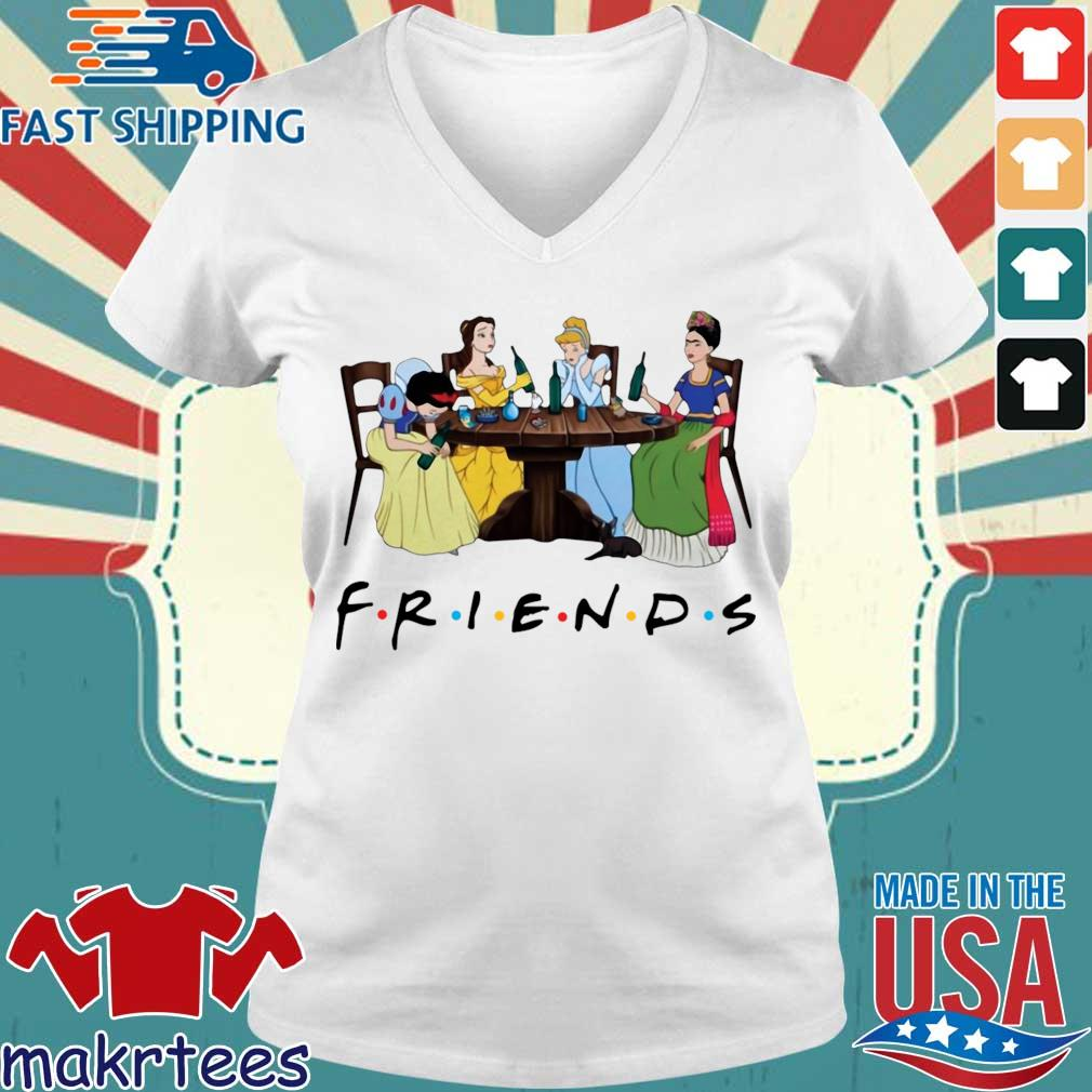 Frida Kahlo and Disney princesses drinking Friends TV show s Ladies V-neck trang