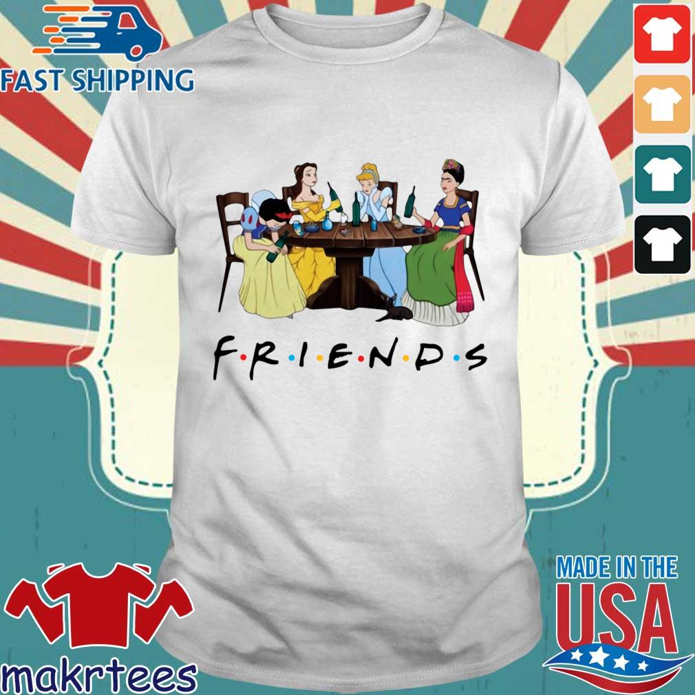 Frida Kahlo and Disney princesses drinking Friends TV show s Shirt trang