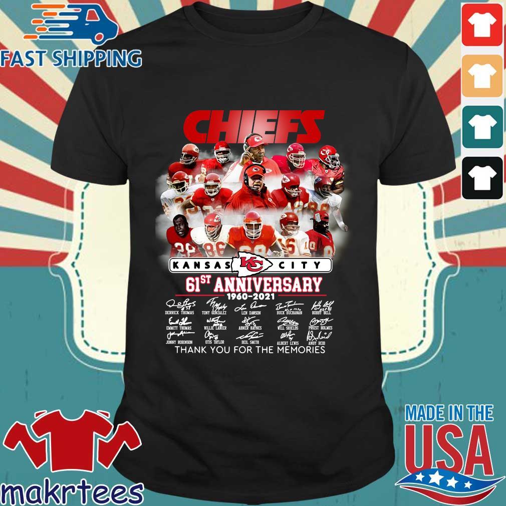 Kansas City Chiefs 61st anniversary 1960-2021 thank you signatures shirt
