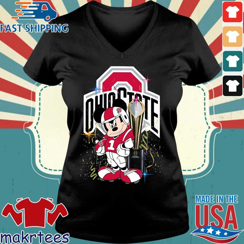 Ohio State Buckeyes Mickey Mouse National Championship trophy s Ladies V-neck den