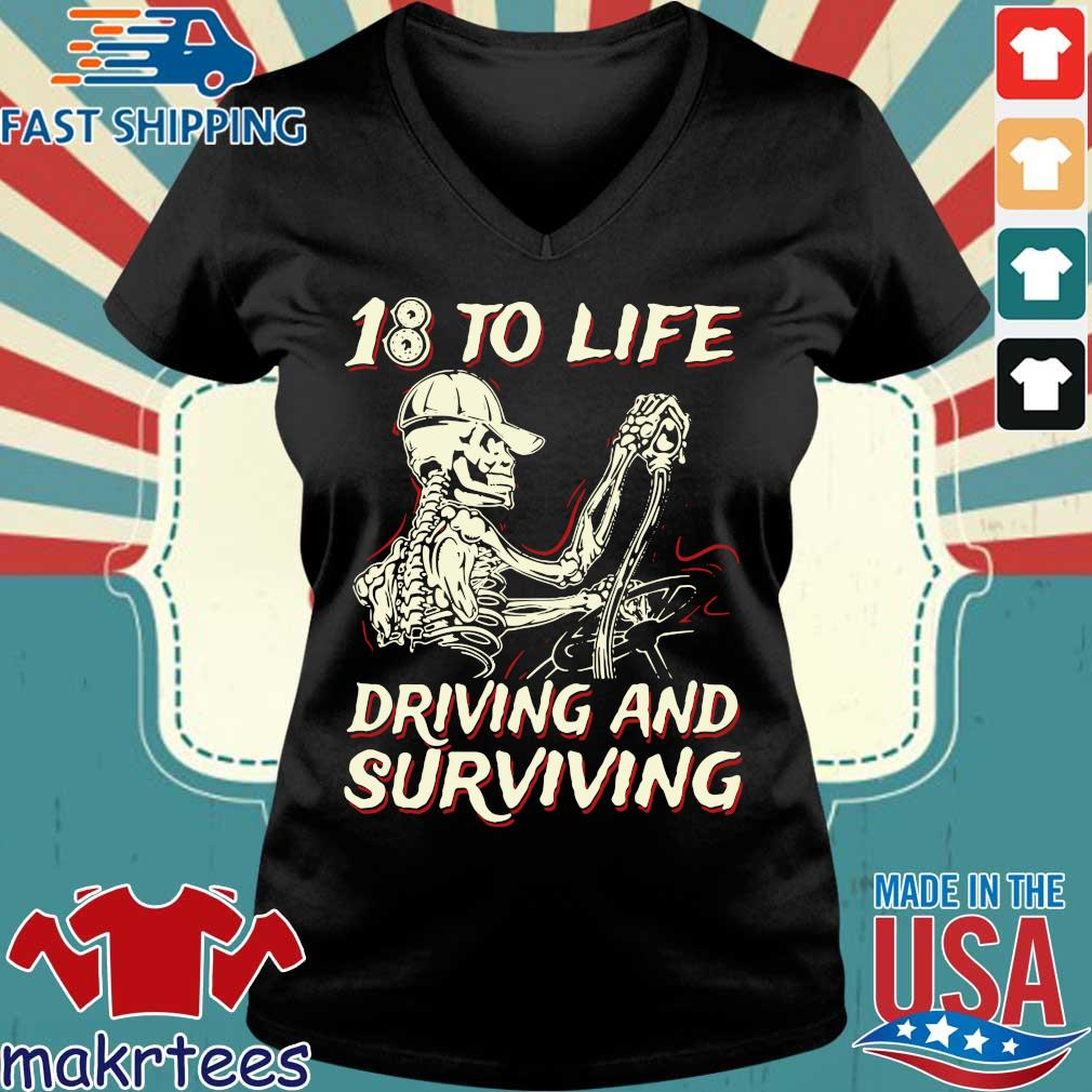 Skeleton 18 to life driving and surviving s Ladies V-neck den