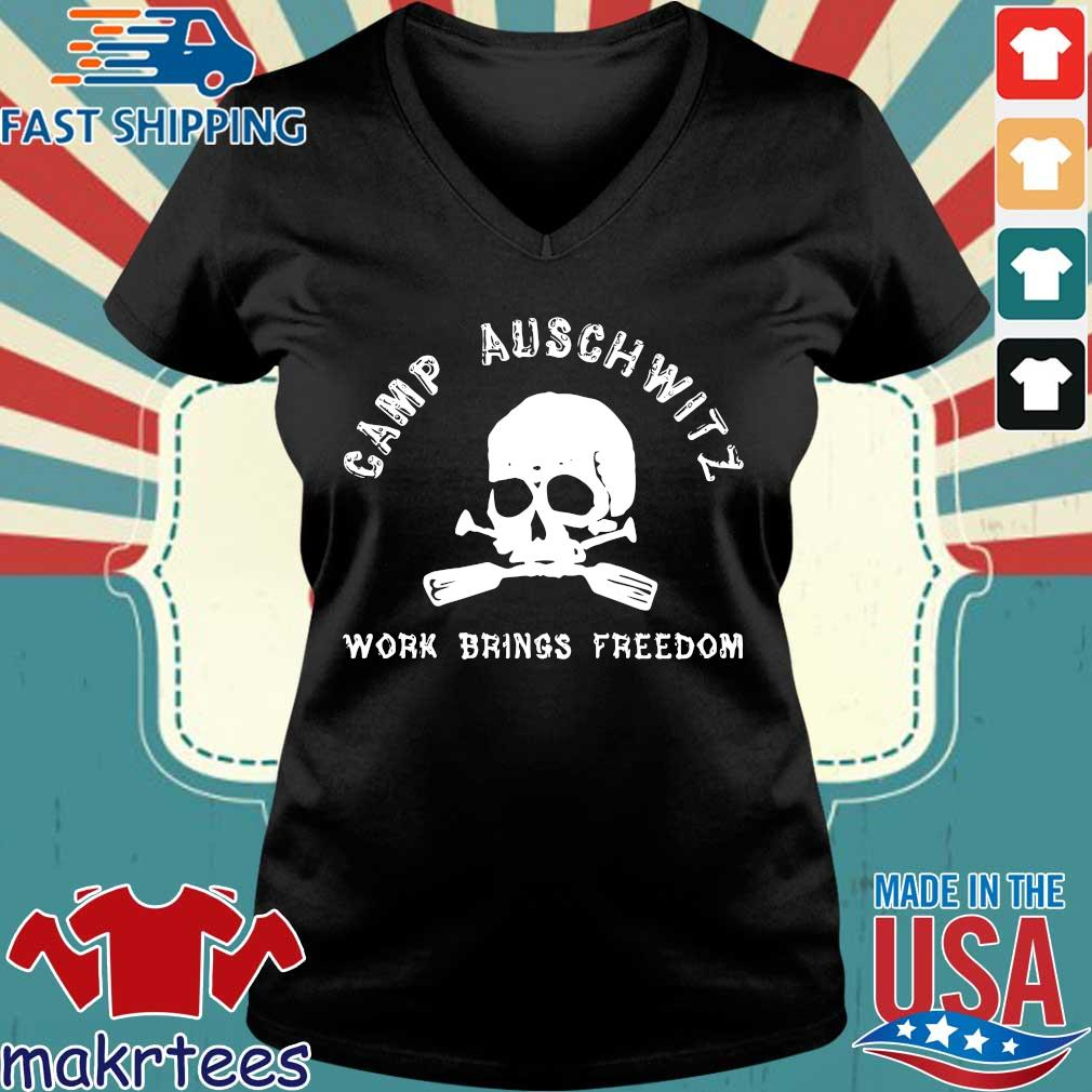 Skull camp auschwitz work brings freedom s Ladies V-neck den
