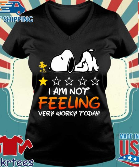 Snoopy and Woodstock I am not feeling very worky today s Ladies V-neck den